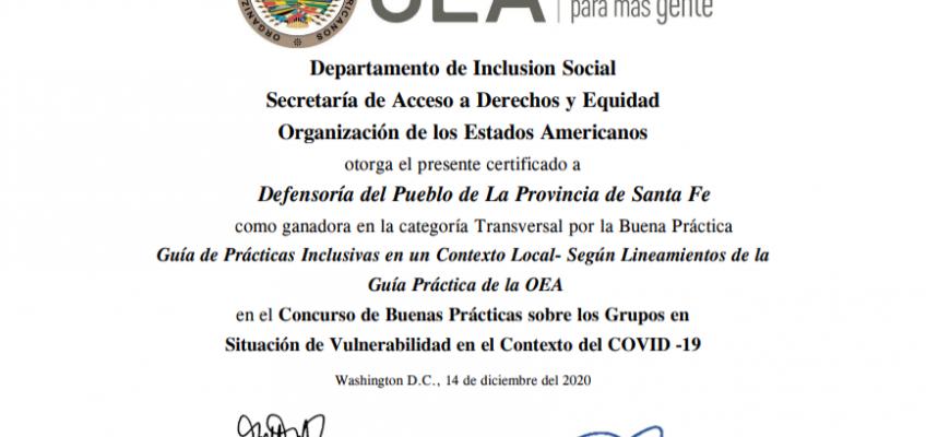 La OEA premió la Guía de Respuestas Inclusivas en un contexto local elaborada por la Defensoría del Pueblo de Santa Fe